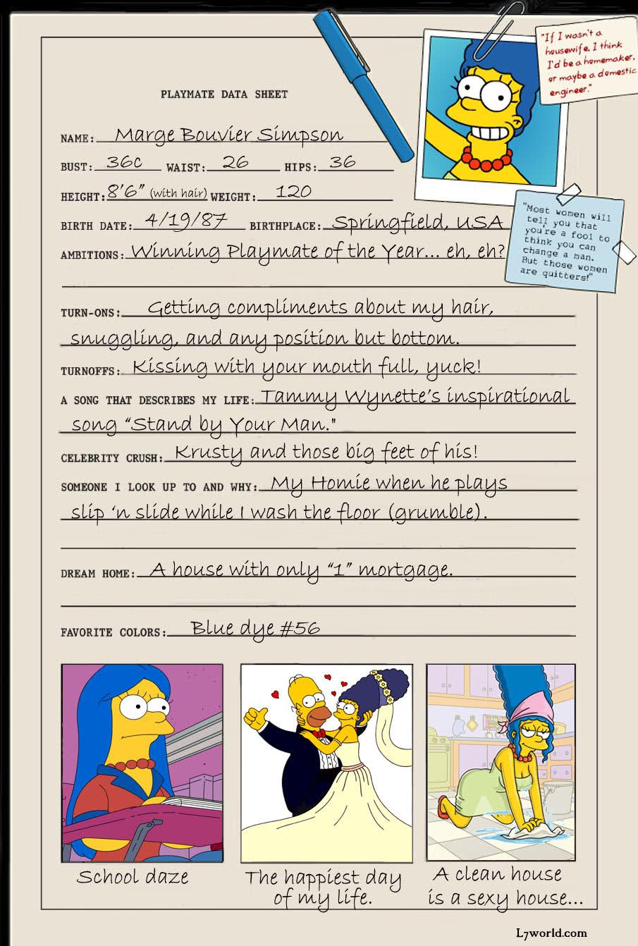 Marge Simpson Playboy Playmate Data Sheet