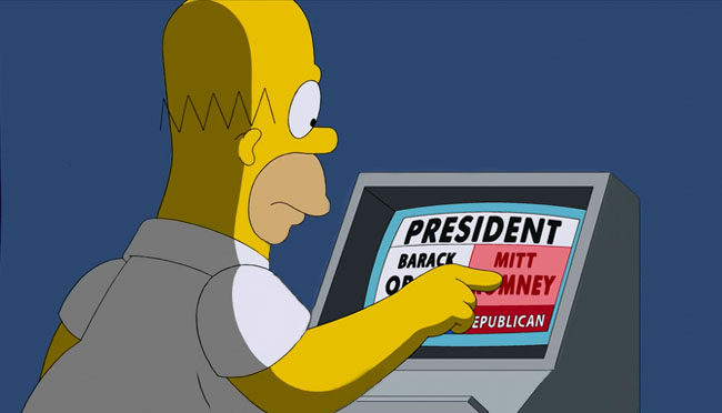 homer simpson votes for mitt romney