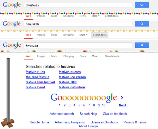 Google Celebrates Christmas, Hanukkah, Kwanzaa and Festivus
