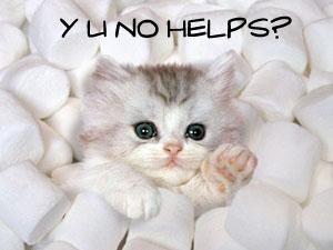 Cute Kitten drowning in marshmallows