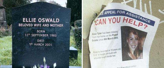 Doctor Who - Ellie Oswald tombstone and Rose Tyler Missing Poster