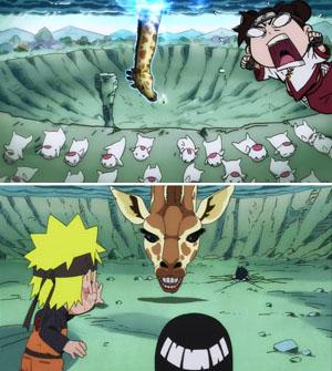 Naruto SD Rock Lee - Sasuke Kirin Giraffe attack