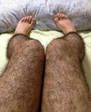 Chinese woman in hairy stockings