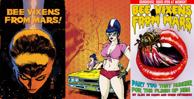 Dark Horse Publishes Grindhouse Comics (Grindhouse Doors Open at Midnight - Bee Vixens from Mars cover)