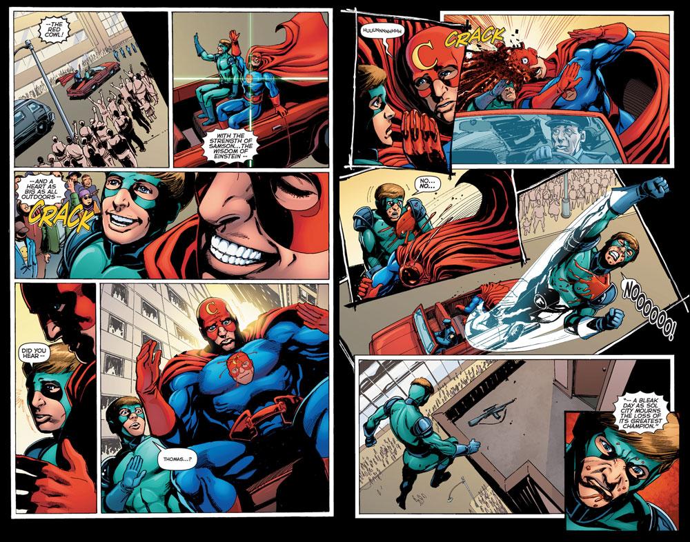 Sidekick #1 Red Cowl assassination (J. Michael Straczynski and Tom Mandrake)