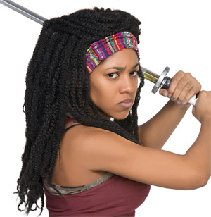Sexy Walking Dead Costume (Michonne wig and headband)