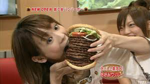 Japanese women eating brings great shame to her face (ochobo)