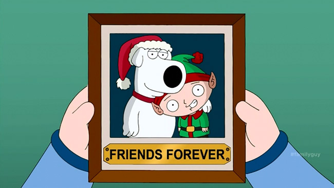 Family Guy brings back Brian in Christmas miracle (Brian and Stewie Christmas photo)