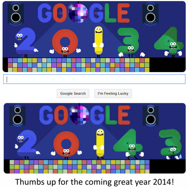 Google Doodle New Year's Eve 2013
