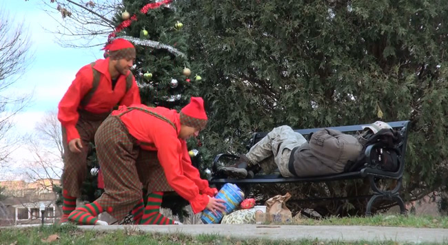 Pranksters bring Christmas to homeless