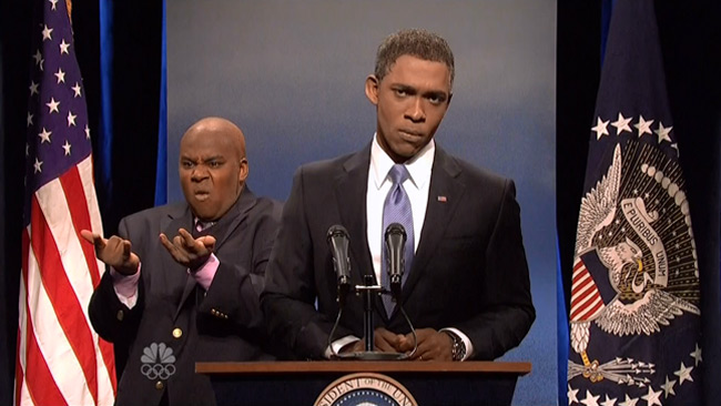 President Obama sign language translates into laughs on SNL (Jay Pharoah and Kenan Thompson)
