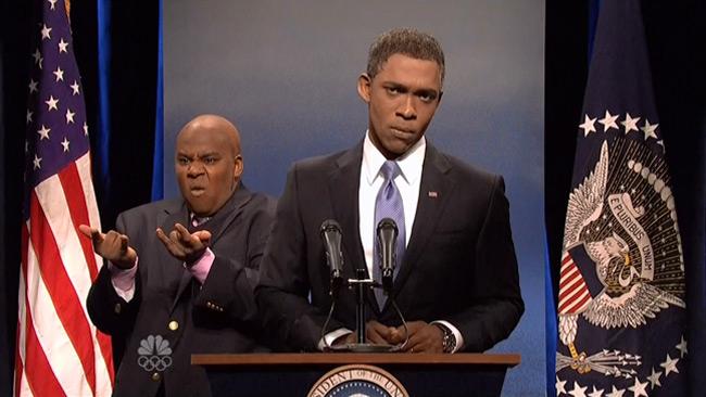 President Obama sign language translates into laughs on SNL (Jay Pharoah and Kenan Thompson)