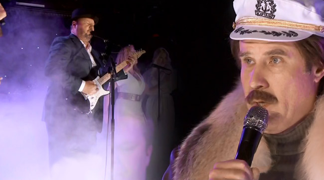 Ron Burgundy sings backup for Christopher Cross on Jimmy Kimmel