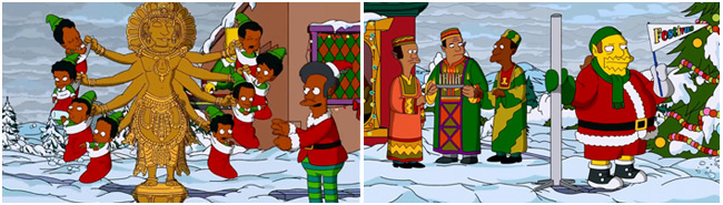 The Simpsons Christmas couch gag - Apu god and Comic Book Guy Festivus (White Christmas Blues