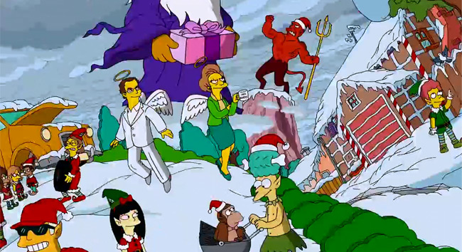 The Simpsons Christmas couch gag - Marcia Wallace as Mrs. Krabappel  (White Christmas Blues)