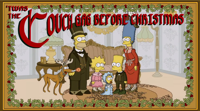 The Simpsons Christmas couch gag (White Christmas Blues)