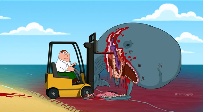 Family Guy uplifting tale about beached whale is real sidesplitter (S12E09 Peter Problems - forklift)