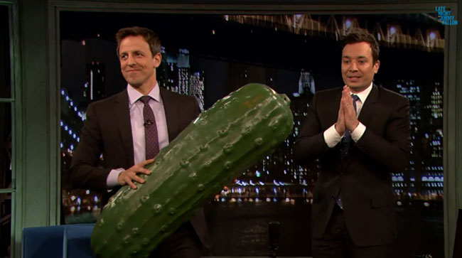 Late Night pickle passed on from Jimmy Fallon to Seth Meyers