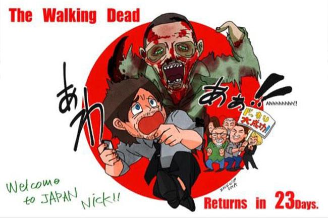 Norman Reedus scared to death by Walking Dead zombie prank Japanese fan art