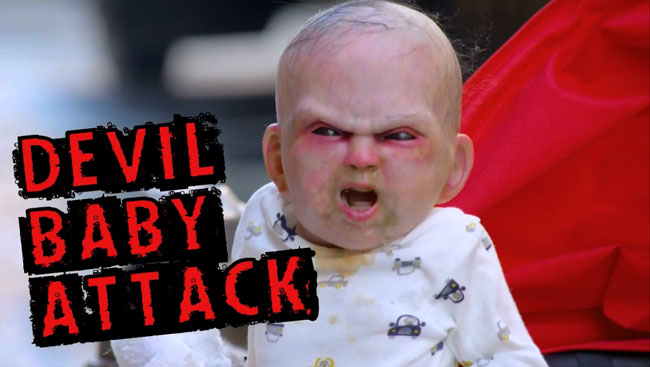 Possessed baby prank promotes Devil's Due movie (Devil Baby Attack viral video)