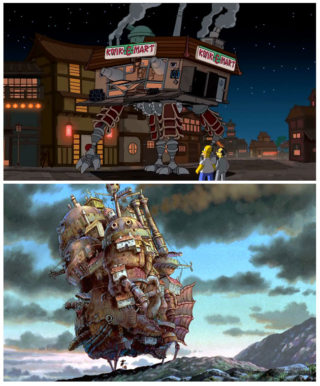 The Simpsons S25E10 - Married to the Blob Hayao Miyazaki tribute scene (Kwik-E-Mart and Howl's Moving Castle)