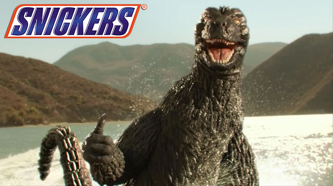 Godzilla Snickers commercial Godzilla thumbs up