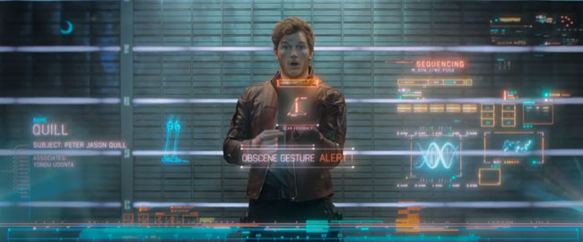 Guardians of the Galaxy middle finger Peter Quill AKA Star-Lord (Chris Pratt)