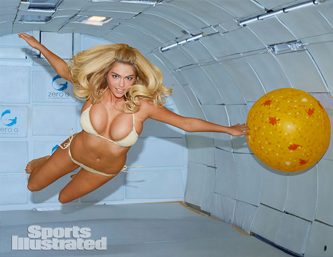 Kate Upton Sports Illustrated swimsuit 2014 zero gravity photo shoot gold bikini
