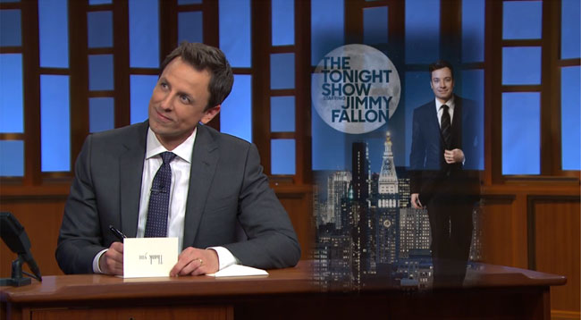 Late Night host Seth Meyers writes Thank You Note to Jimmy Fallon