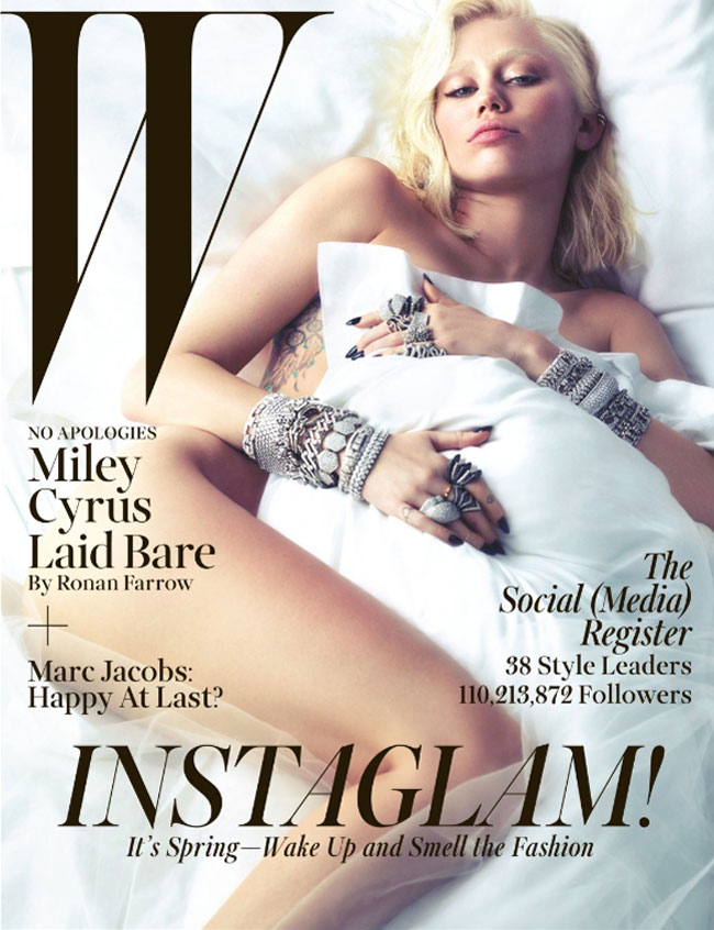 Miley Cyrus nude spreads (plural) - W Magazine cover