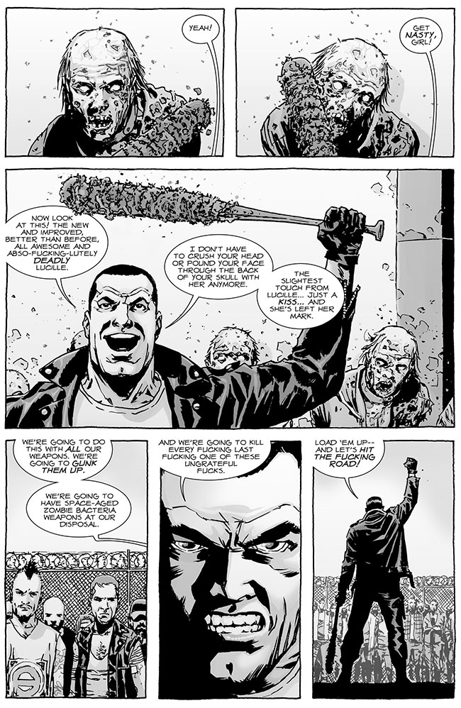 The Walking Dead 122 zombie bat Lucille biological warfare zombie virus 2