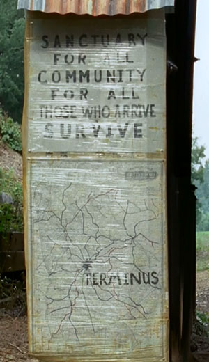 The Walking Dead Inmates Sanctuary Terminus sign