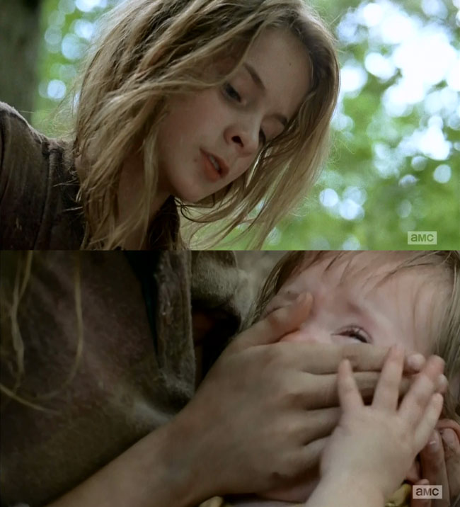 The Walking Dead Lizzie smothers Judith (Brighton Sharbino)