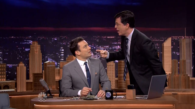 Tonight Show starring Jimmy Fallon vs Colbert Report (Stephen Colbert calls Jimmy Fallon a bitch)