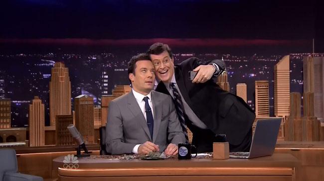 Tonight Show starring Jimmy Fallon vs Colbert Report (Stephen Colber selfie)