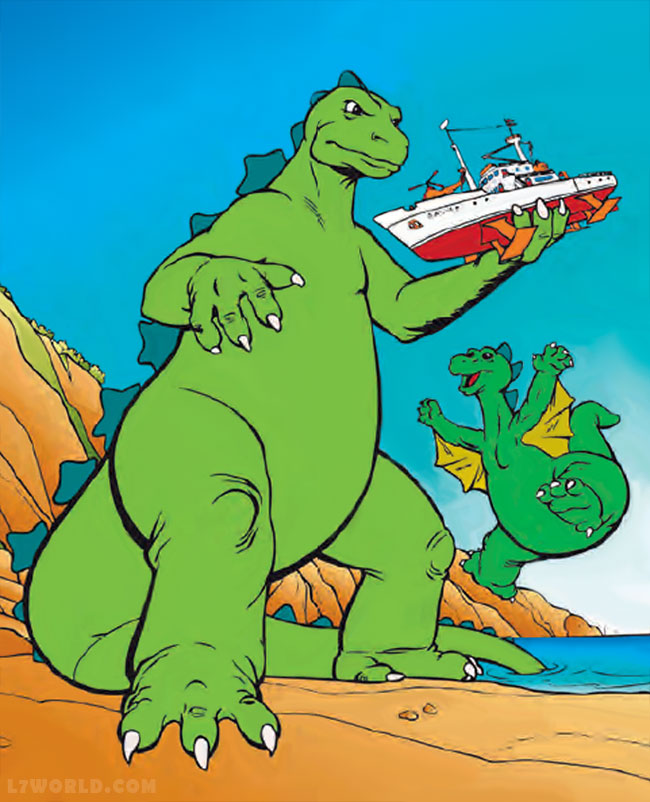 Godzilla cartoon Godzooky cameo in Godzilla movie