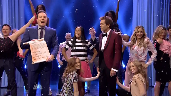 Kevin Bacon rebels when Jimmy Fallon bans dancing on Tonight Show