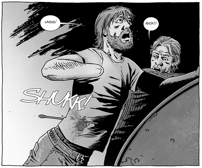 The Walking Dead comic kills Rick Grimes (arrow - The Walking Dead #123)