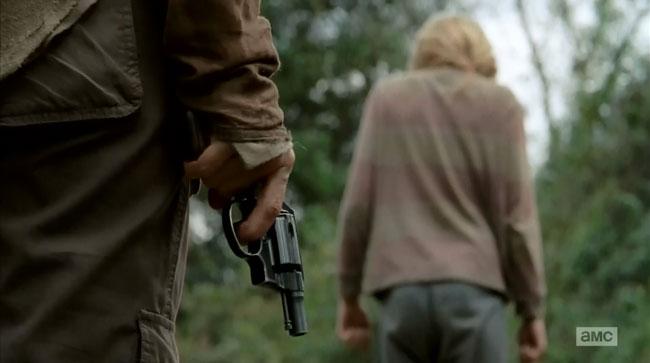 Walking Dead Carol (Melissa McBride) kills Lizzie (Brighton Sharbino)