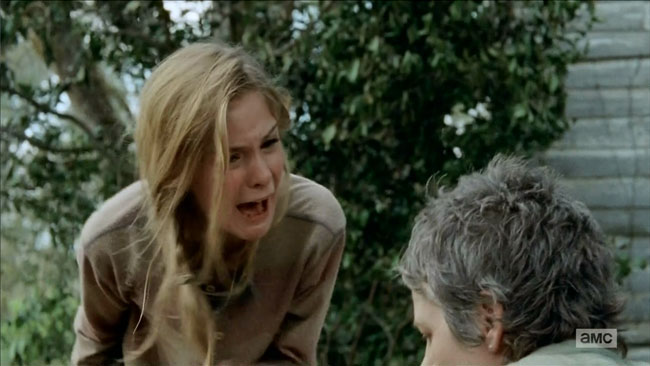 Walking Dead The Grove Carol kills zombie Lizzie snaps