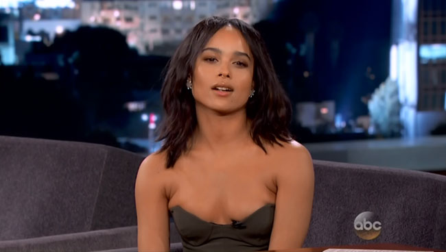 Zoe Kravitz revealing interview on Jimmy Kimmel Live (cleavage)