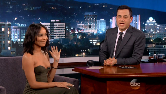 Zoe Kravitz revealing interview on Jimmy Kimmel Live