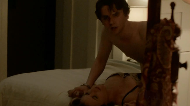 Bates Motel shows saturtory rape scene of Norman Bates on top (Freddie Highmore and Keegan Connor Tracy)