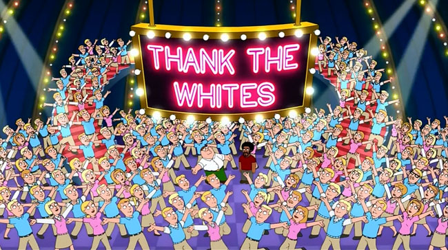 Family Guy racist song Thank the Whites (chorus sweater vests)