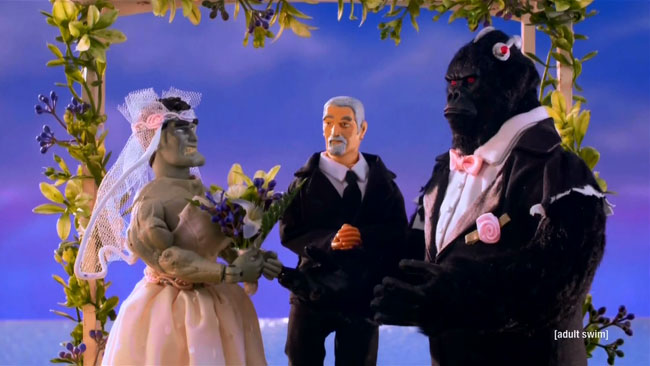 Robot Chicken DC Comics Special II Villains In Paradise (Bizarro and Grodd wedding)