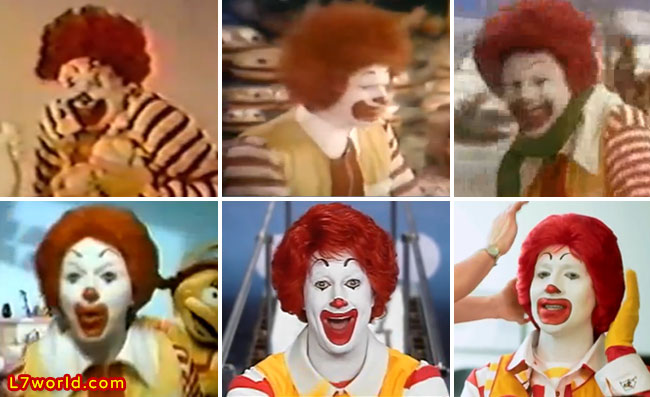 Ronald McDonald hairstyles over the years 60s 70s 80s 90s 00s 10s