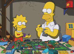Simpsons Lego episode Brick Like Me (Homer and Lisa build castle)