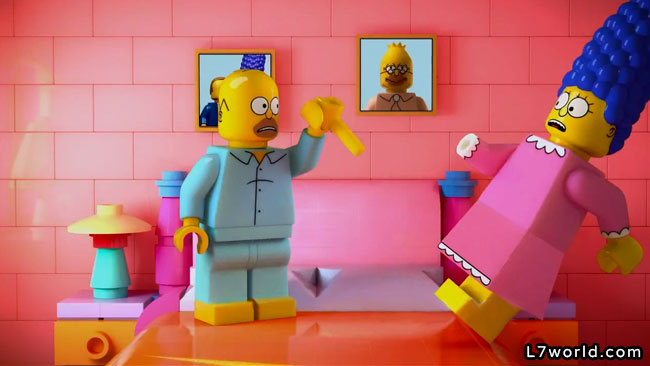 Simpsons Lego episode Brick Like Me (Homer and Marge sex in bedroom)