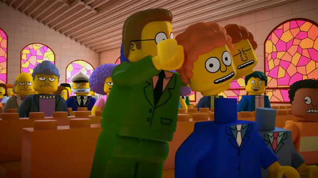 Simpsons Lego special sex scene revealed (LEGO Ned Flanders church)