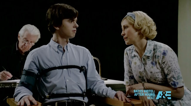 Bates Motel The Immutable Truth - lie detector test hallucination (Freddie Highmore and Vera Farmiga)